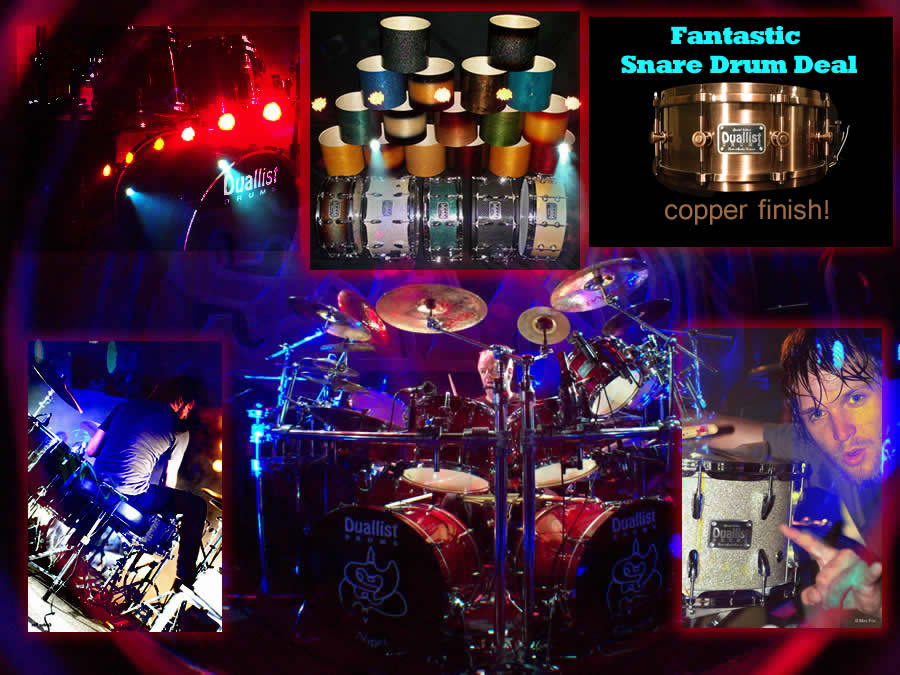 Duallist Drums on stage with Saxon - custom drums from Kevin Mackie