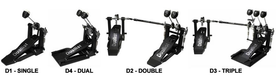 Duallist Pedals - Single Bass Drum Pedal, Dual Bass Drum Pedal, Double Bass Drum Pedal, Triple Bass Drum Pedal